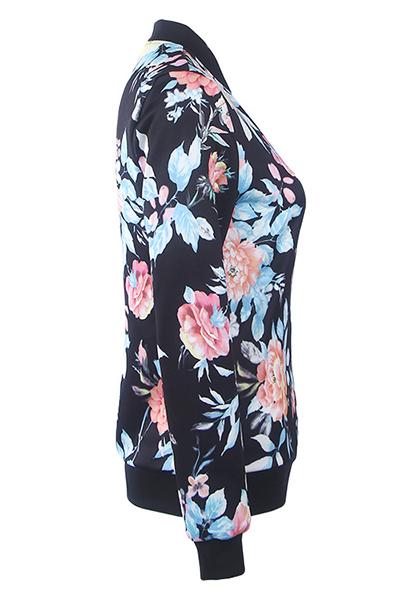 Ethnic Style Round Neck Long Sleeves Printed Black