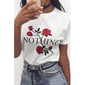 Pullovers Cotton O Neck Short Sleeve Floral T-shir