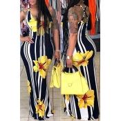 Lovely Lovelywholesale Casual Striped Print Yellow Maxi Dress(Batch Print)