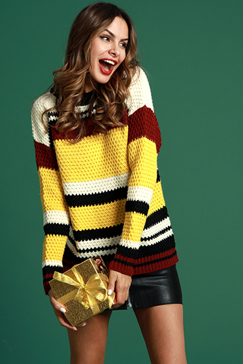 Lovely Casual Striped Patchwork Yellow Cotton Swea