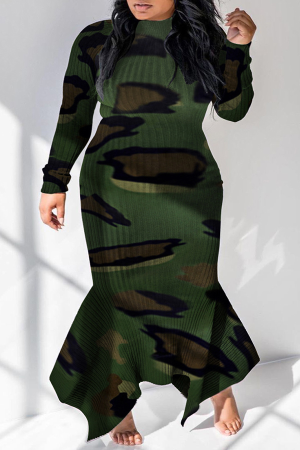Lovely Casual Camouflage Printed Ankle Length Plus