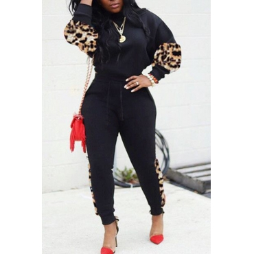 Lovely Casual O Neck Black Two-piece Pants Set