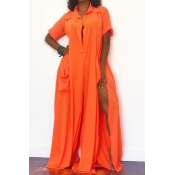 Lovely Casual Side High Slit Croci One-piece Jumps