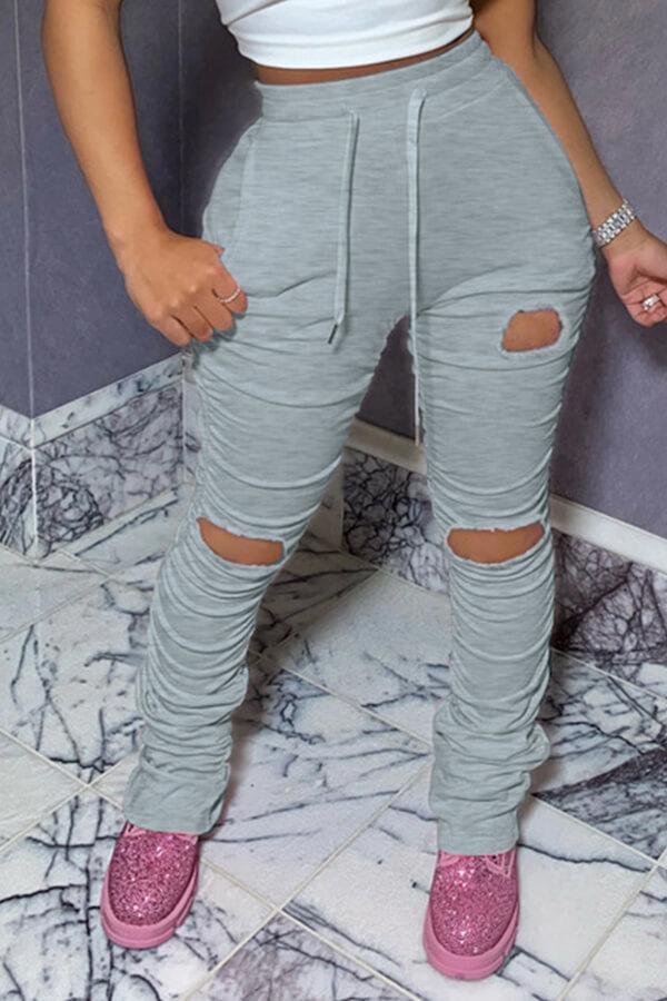 Lovely Sportswear Hollow-out Grey Pants