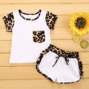 Lovely Stylish Patchwork White Girl Two-piece Shor