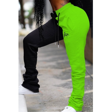 Lovely Casual Patchwork Green Pants