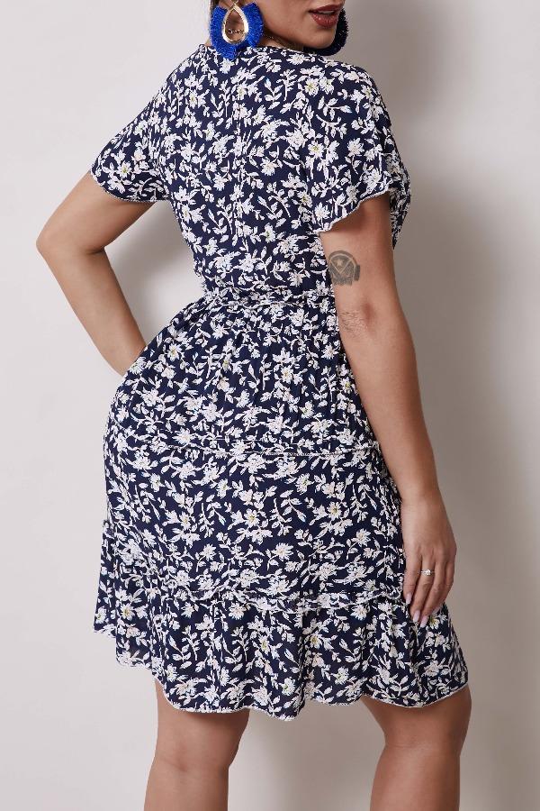 Lovely Bohemian Floral Print Blue Knee Length Dres