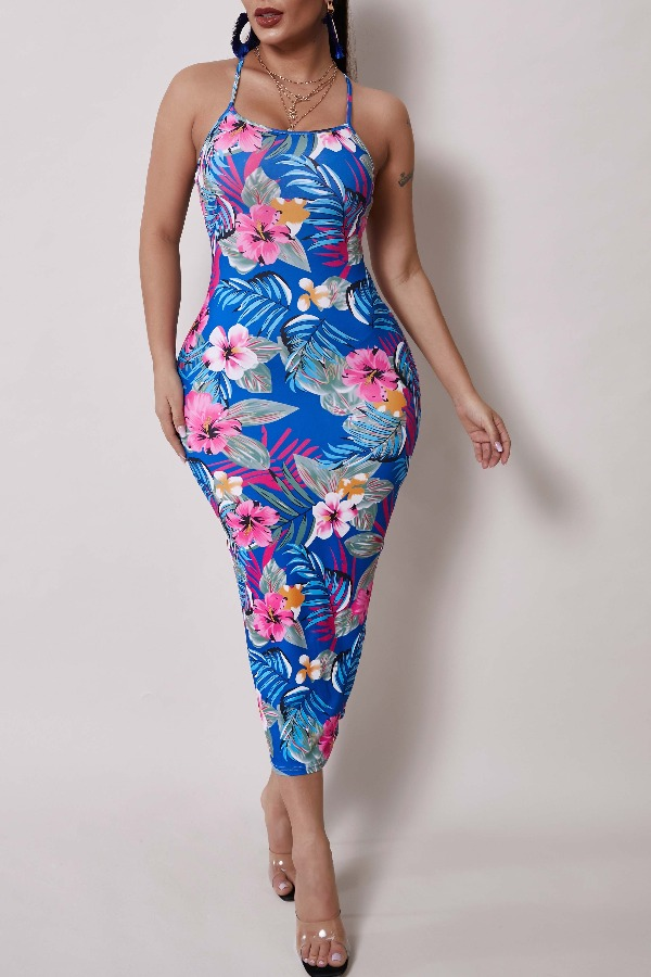 Lovely Leisure Plants Print Blue Mid Calf Dress