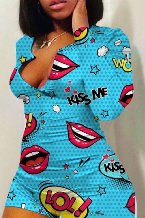 Lovely Leisure Lip Print Skyblue One-piece Romper
