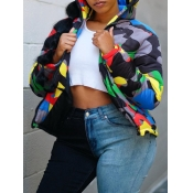Lovely Street Camo Print Zipper Design Plus Size P