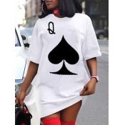 Lovely Casual O Neck Print White Mini Dress