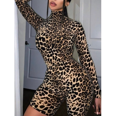 Lovely Trendy Leopard Print Skinny One-piece Rompe