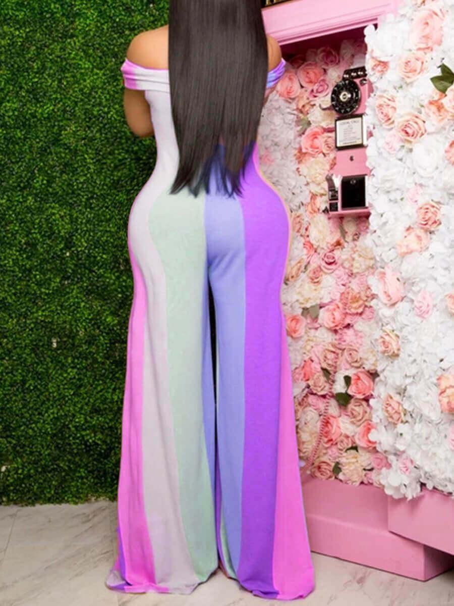 Lovely Plus Size Trendy Dew Shoulder Rainbow Strip