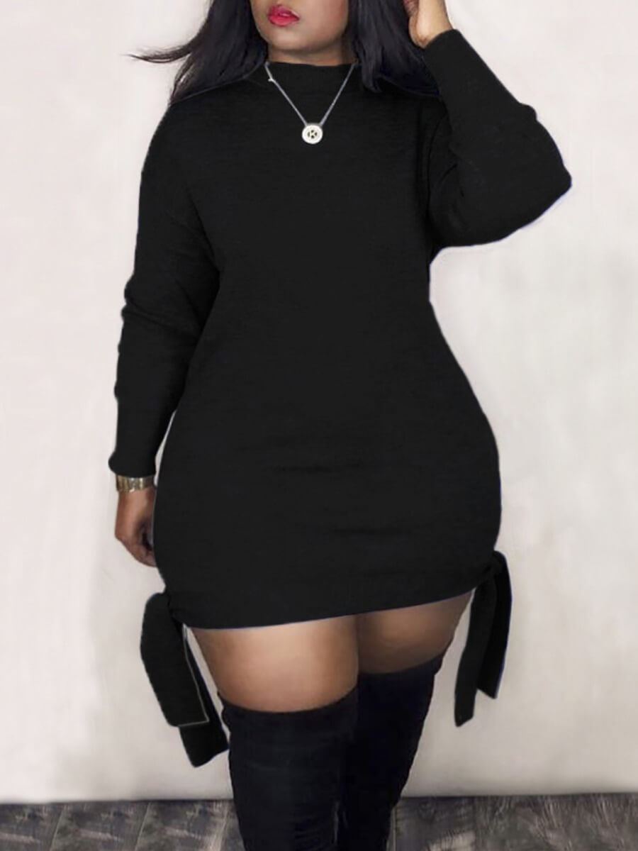 Lovely Plus Size Casual O Neck Knot Design Black M