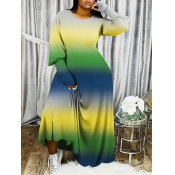 Lovely Casual O Neck Gradient Green Maxi Plus Size