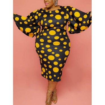Lovely Casual O Neck Dot Print Yellow Knee Length