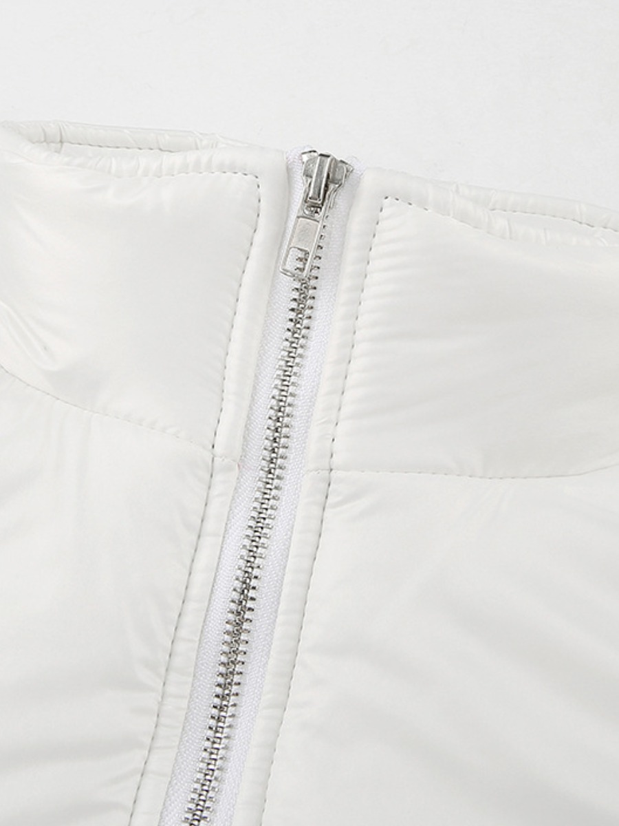 Lovely Casual Zipper Design White Short Parka