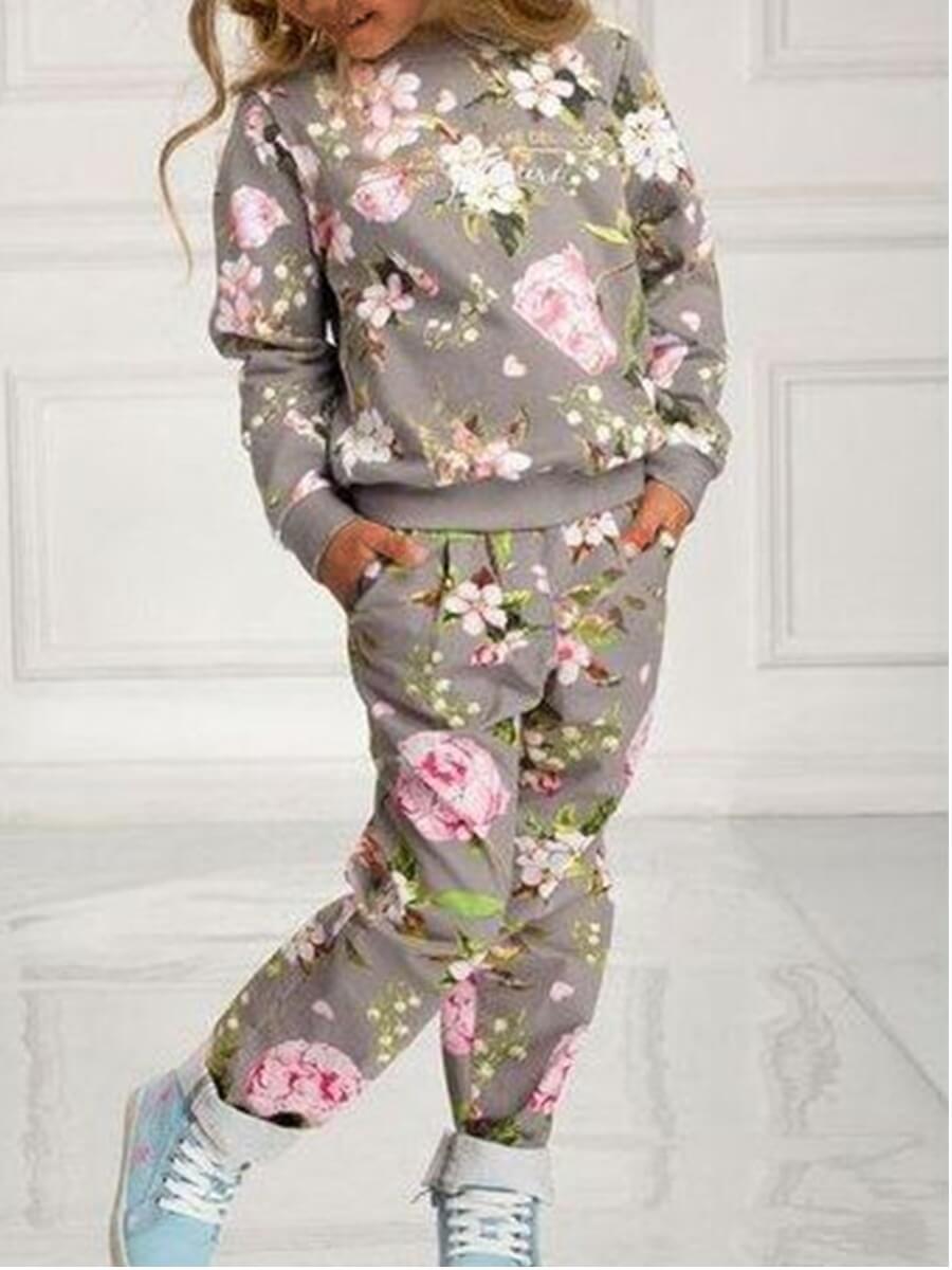 Lovely Sweet O Neck Plants Print Lighr Grey Girl T