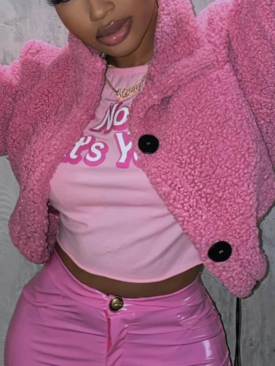 Lovely Trendy Turndown Collar Buttons Design Pink