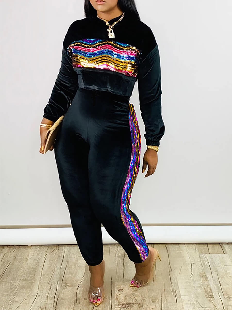 Lovely Leisure O Neck Patchwork Black Two Piece Pa