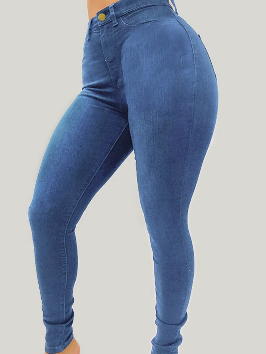 Lovely Casual Basic Skinny Blue Plus Size Jeans