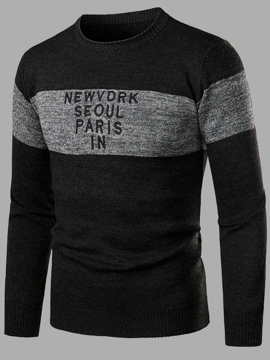Lovely Casual O Neck Print Patchwork Black Men Swe