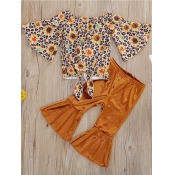 Lovely Girl Stylish O Neck Floral Print Yellow Two-piece Pants Set