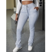 Lovely Plus Size Casual Fold Design Grey Pants