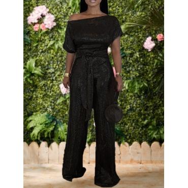 lovely Stylish Lace-up Black One-piece Jumpsuit