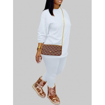 Lovely Casual O Neck Basic White Plus Size Two-pie