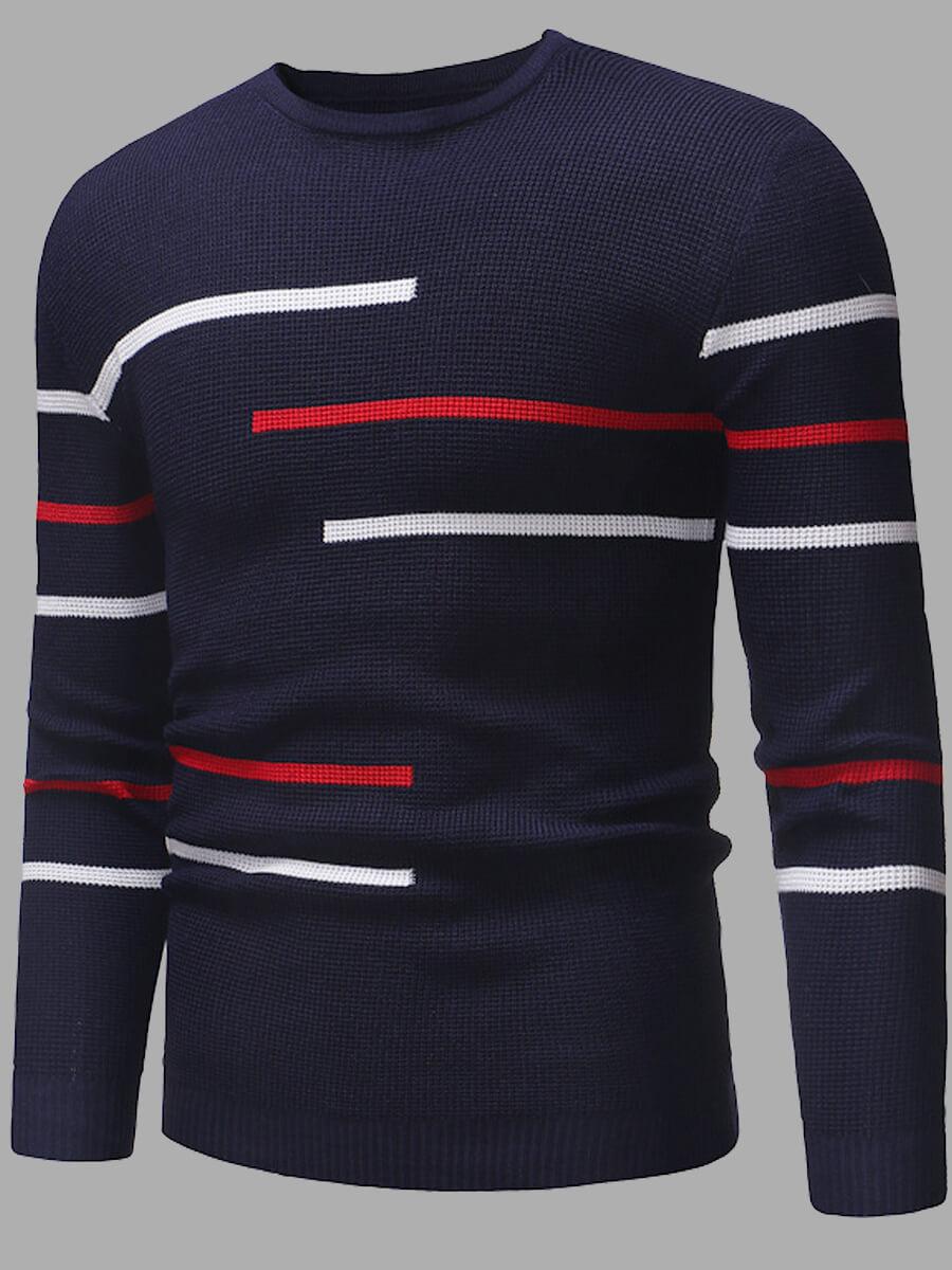 Lovely Men Stylish O Neck Striped Navy Blue Sweate