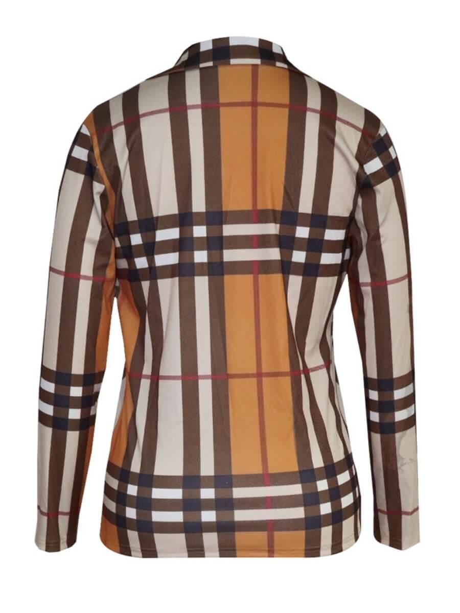 Lovely Stylish Turndown Collar Grid Print Brown Bl
