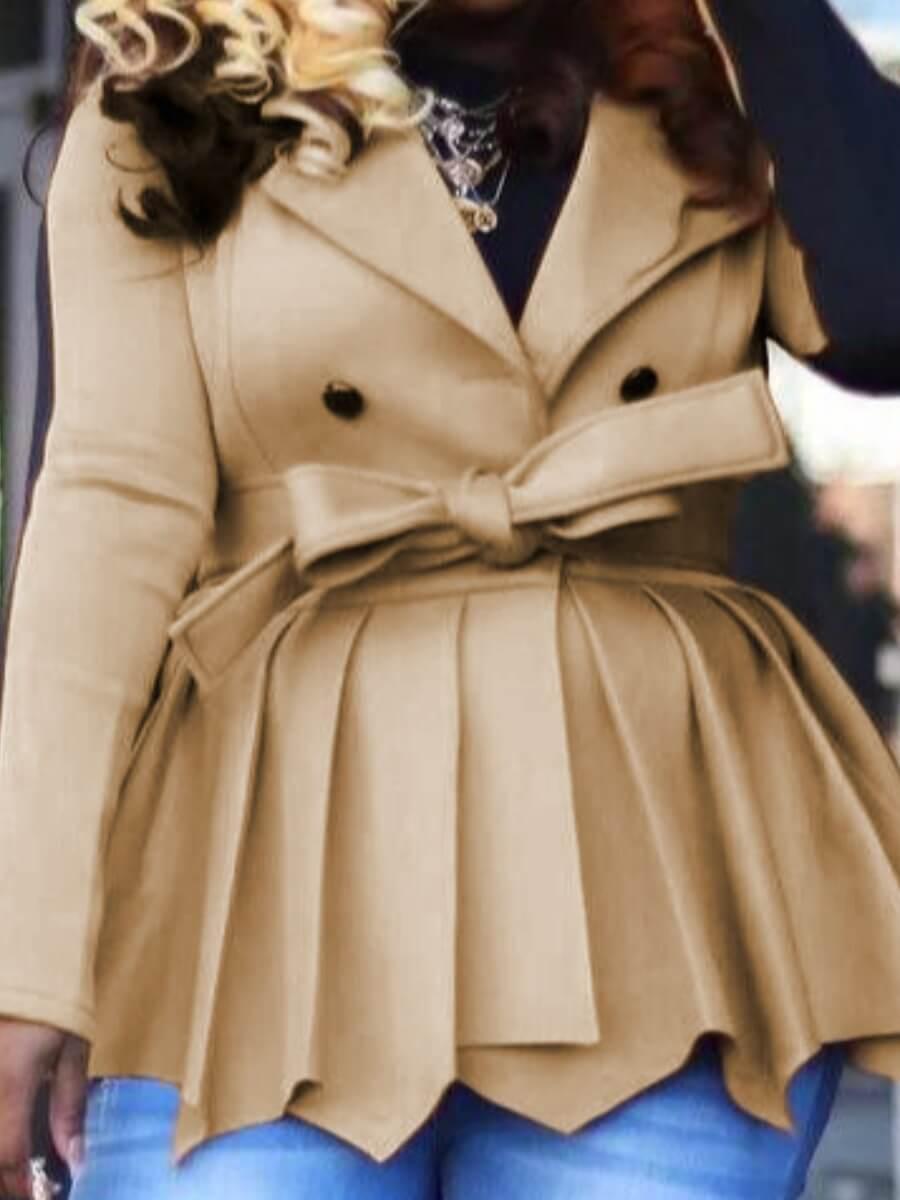 Lovely Patchwork Fold Design Coat (With Belt)