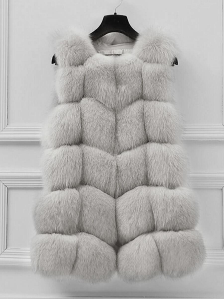 Lovely Stylish Sleeveless Grey Faux Fur