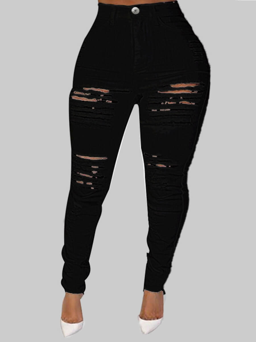 Lovely Plus Size Street Hollow-out Black Jeans