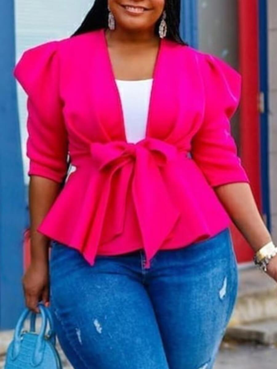 Lovely Stylish Lace-up Flounce Design Rose Red Plu