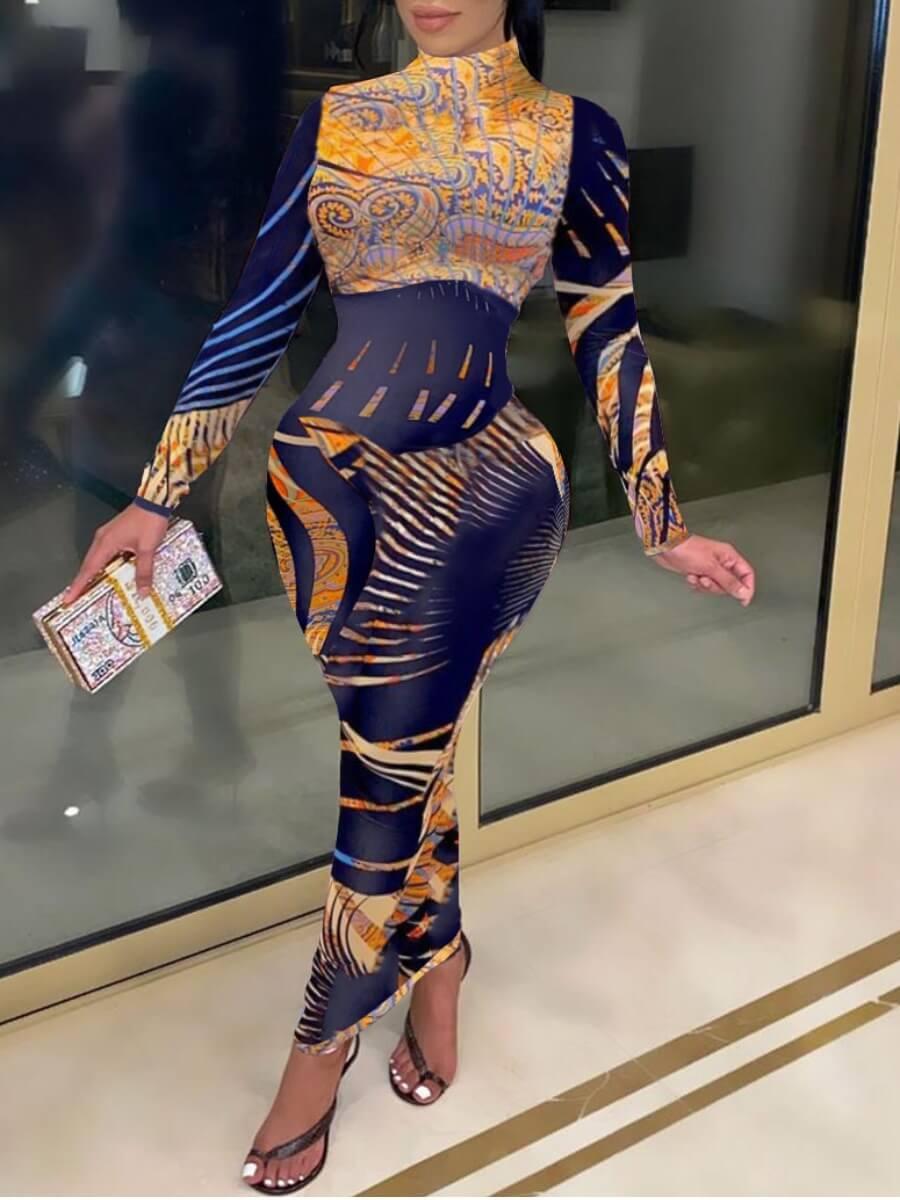 LW BASICS Mixed Print Bodycon Dress