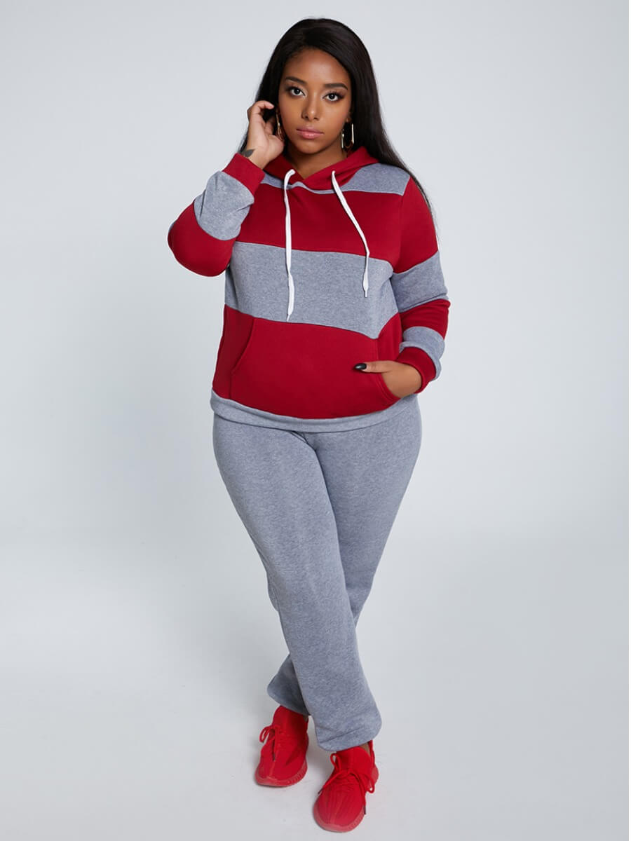 Lovely Casual Hooded Collar Striped Grey Plus Size