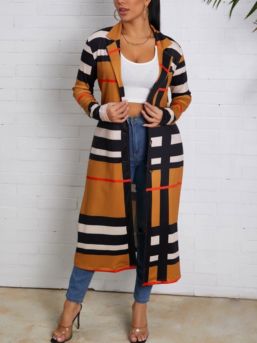Lovely Trendy Turndown Collar Print Khaki Trench C