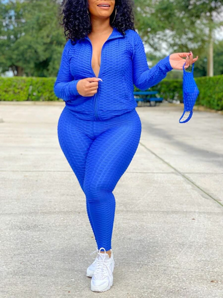 Lovely Casual Turndown Collar Zipper Design Blue P