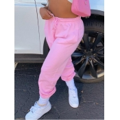 Lovely Casual Drawstring Loose Pink Pants