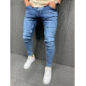 Lovely Casual Broken Holes Blue Men Jeans