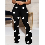 Lovely Stylish Heart Print Black Jeans
