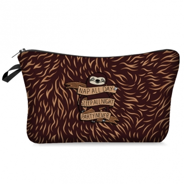 Lovely Stylish Print Brown Makeup Bag