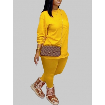 Lovely Casual O Neck Basic Yellow Plus Size Two-pi