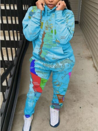 Lovely Street Hooded Collar Print Blue Two Piece P