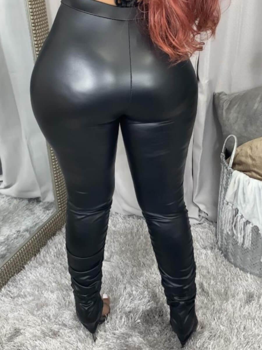 Lovely Street High-waisted Elastic Black Pants