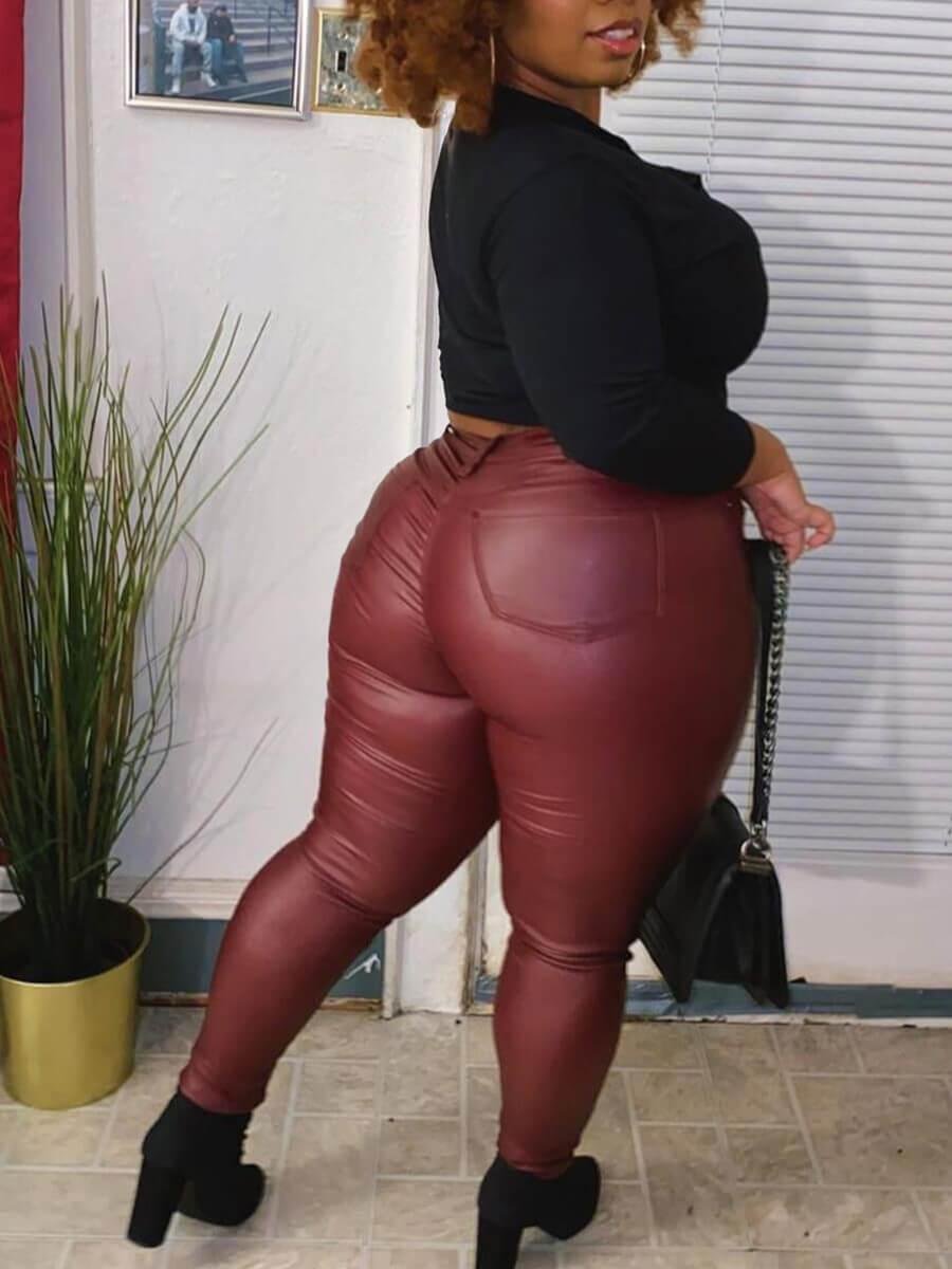 Lovely Street Mid Waist Wine Red Pants