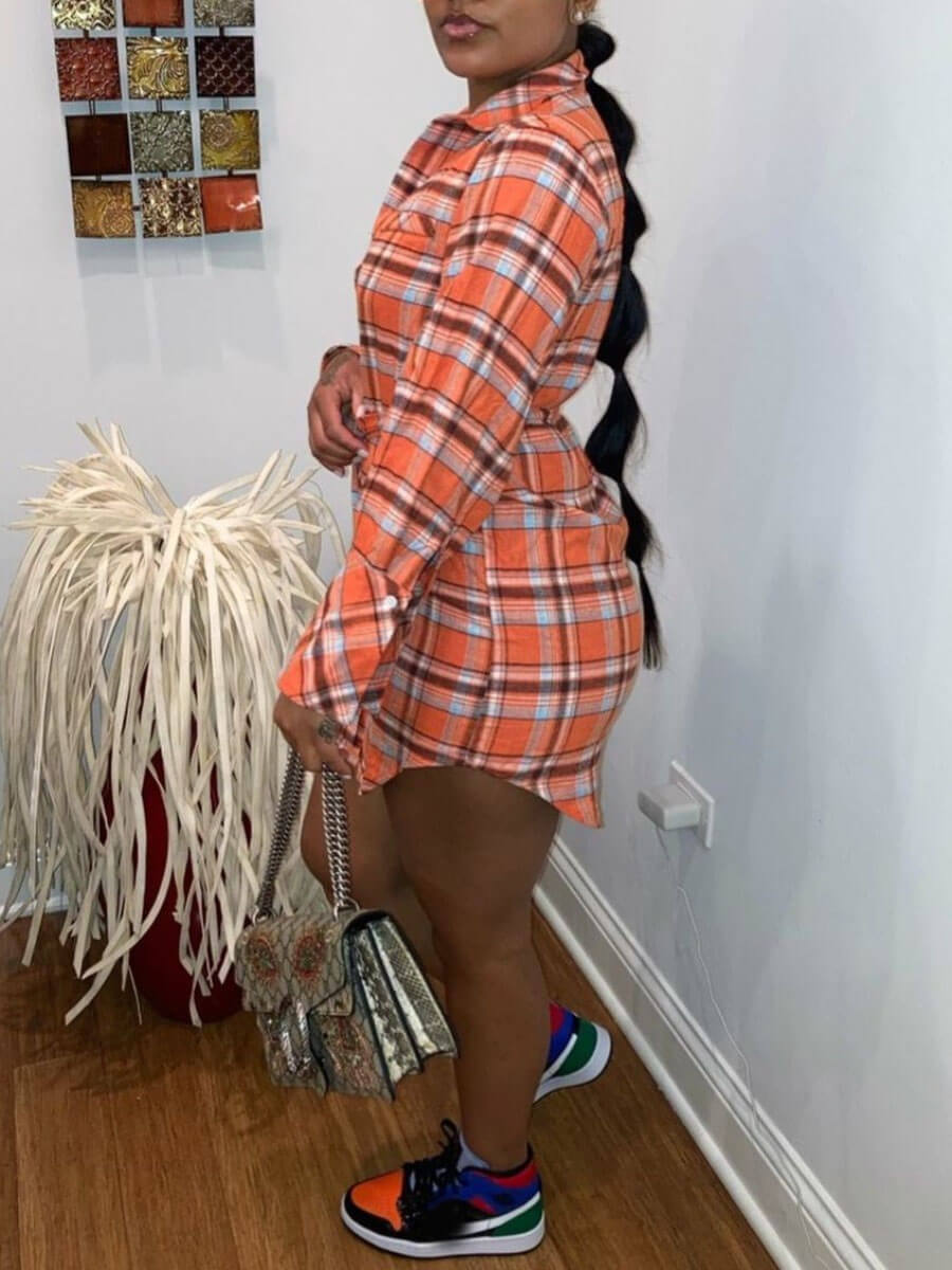 Lovely Casual Plaid Print Orange Mini Dress