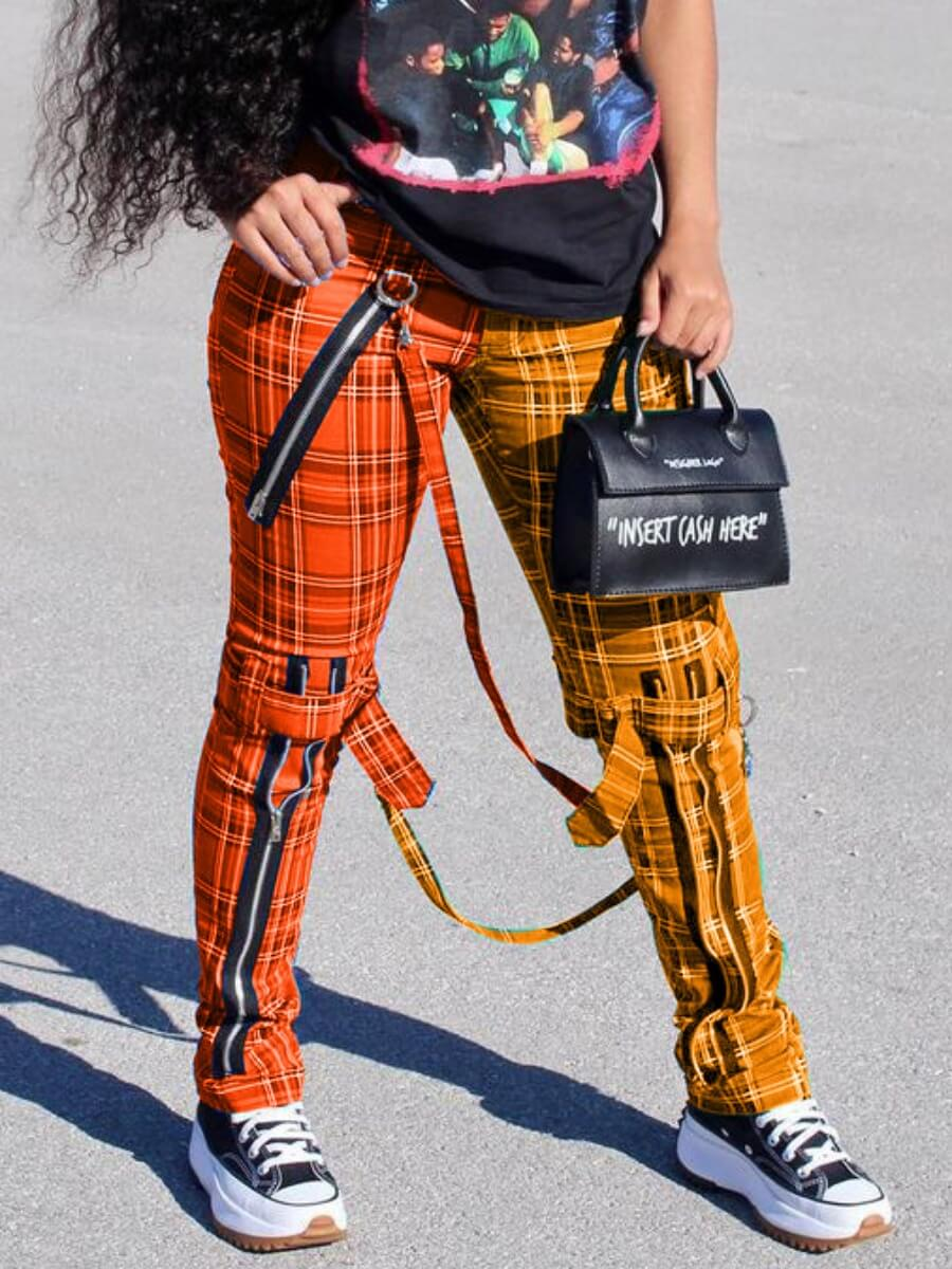 Lovely Casual Plaid Print Patchwork Orange Pants